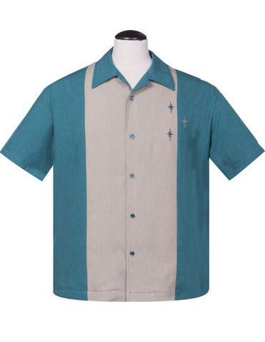 Crosshatch Button Up in Teal/Silver