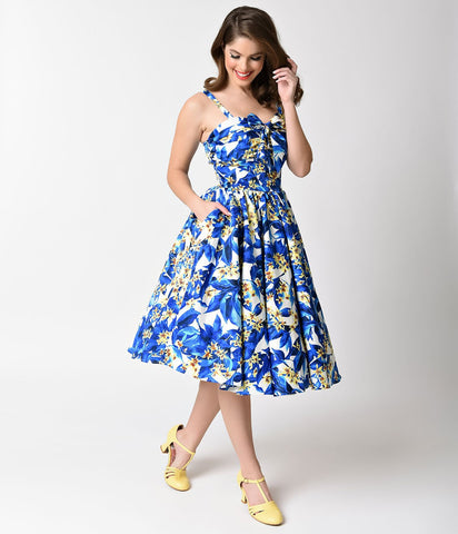Blue & Yellow Floral Golightly Swing Dress