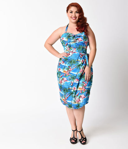Blue Flamingo Lagoon Halter Sarong Wiggle Dress
