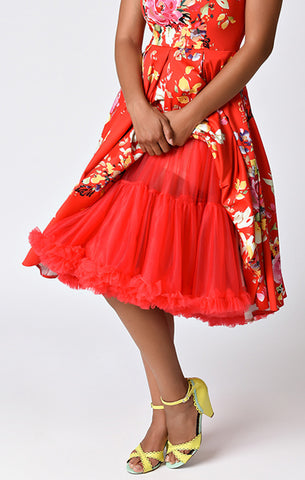Red Retro Style Ruffled Petticoat