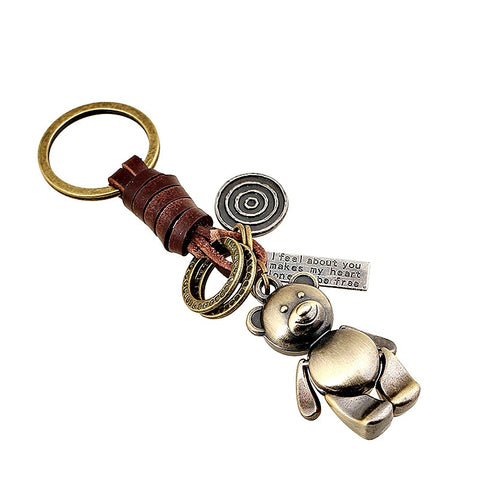 Bear Alloy Braided Leather Keychain