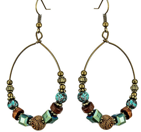 Bohemian Beaded Hoop Earrings