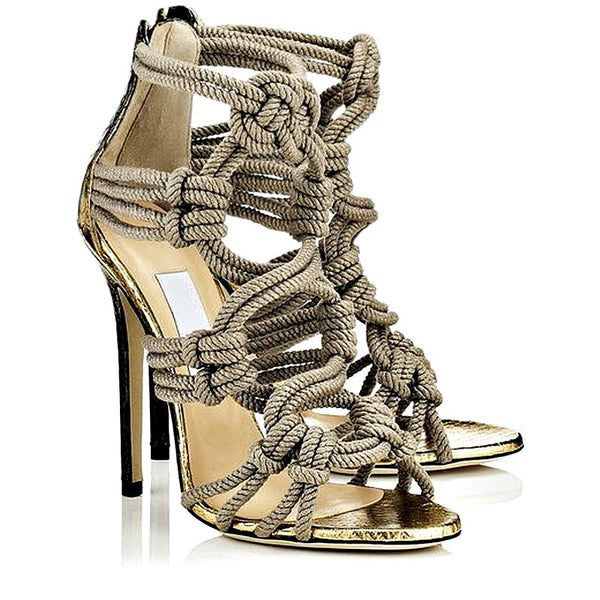 Braided Rope Gladiator High Heels