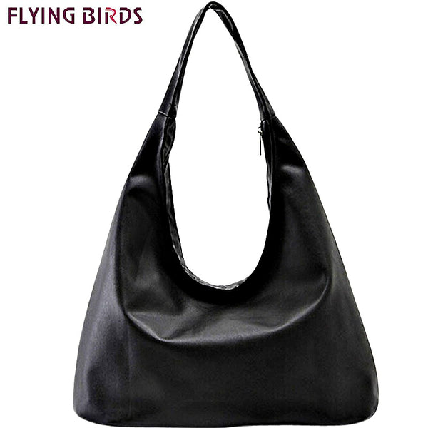 Flying Birds Black Hobo Handbag