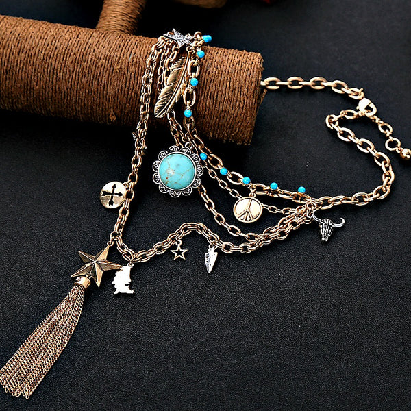 Fringe Tassel Penant Layers Necklace