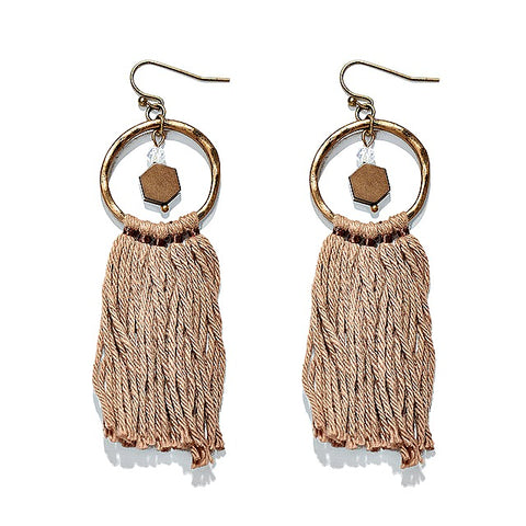 Geometric Vintage Tassel Earrings