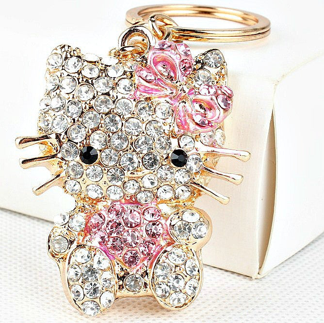 Pink Cat Crystal Keychain