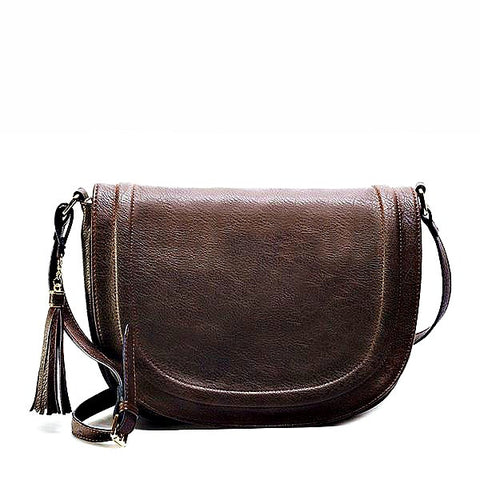 Amelie Galanti Womens Saddle Bag Tassles Crossbody Bag