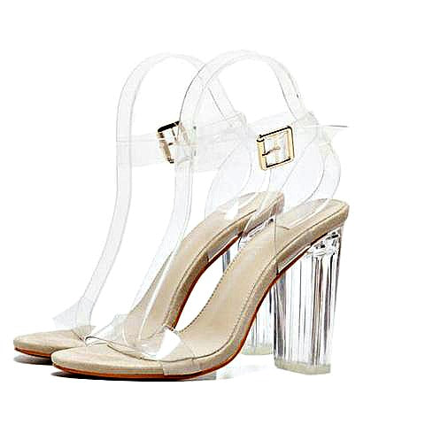 Gladiator Buckled Clear Chunky Heels