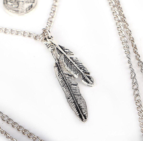 Multi Layer Vintage Feather Necklace