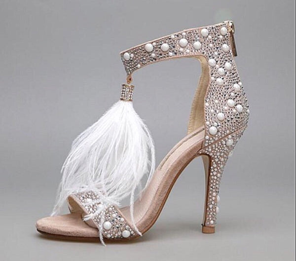 Huinifang Leather Rhinestone Feather High Heels