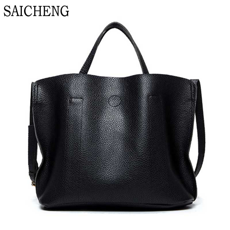 Saicheng Women's Leather Bucket Crossbody Shoulder Bag