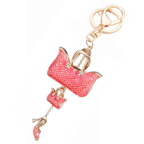 Rhinestone Handbag Keychain with Attached Heel