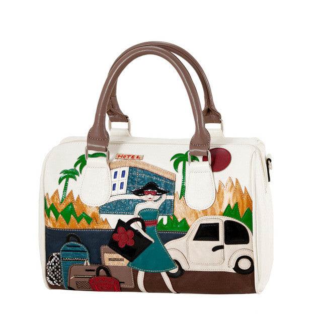 Amelie Galanti Embroidered Car and Girl Tote Bag