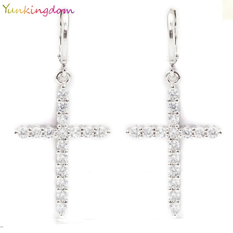 Cubic Zirconia Cross Dangle Earrings