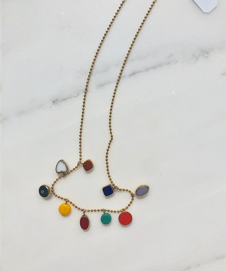 I. Ronni Kappos Mini Charms on Ball Chain Necklace