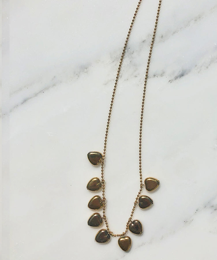 I. Ronni Kappos Gold Hearts (24K gold) on Ball Chain Necklace