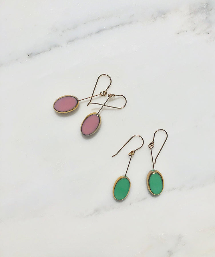 I. Ronni Kappos Oval Drop Earrings Pink/Mint