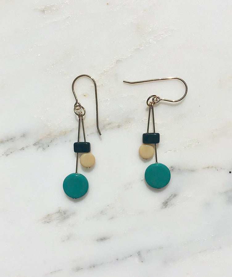 I. Ronni Kappos Mod Turquoise Drop Earrings
