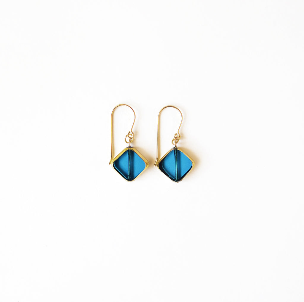I. Ronni Kappos blue diagonal square drop earrings