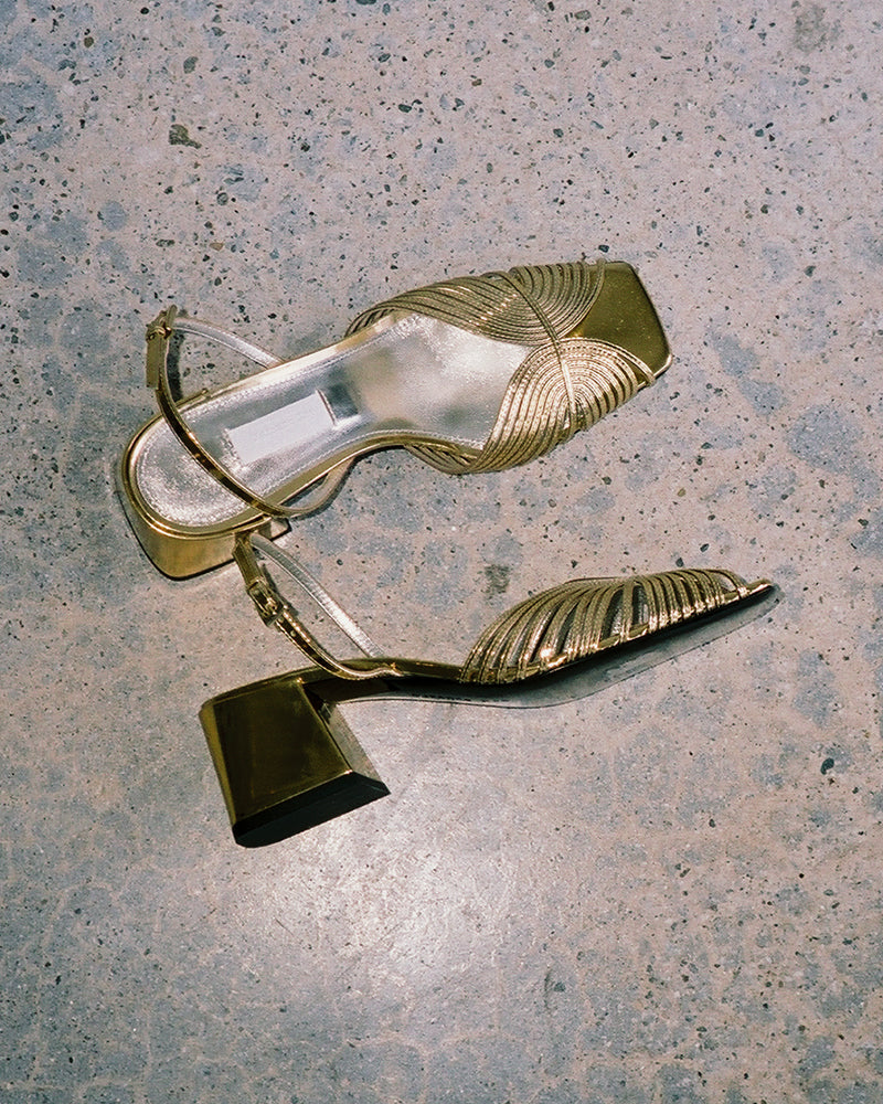 Suzanne Rae 70s Strappy Slingback Gold