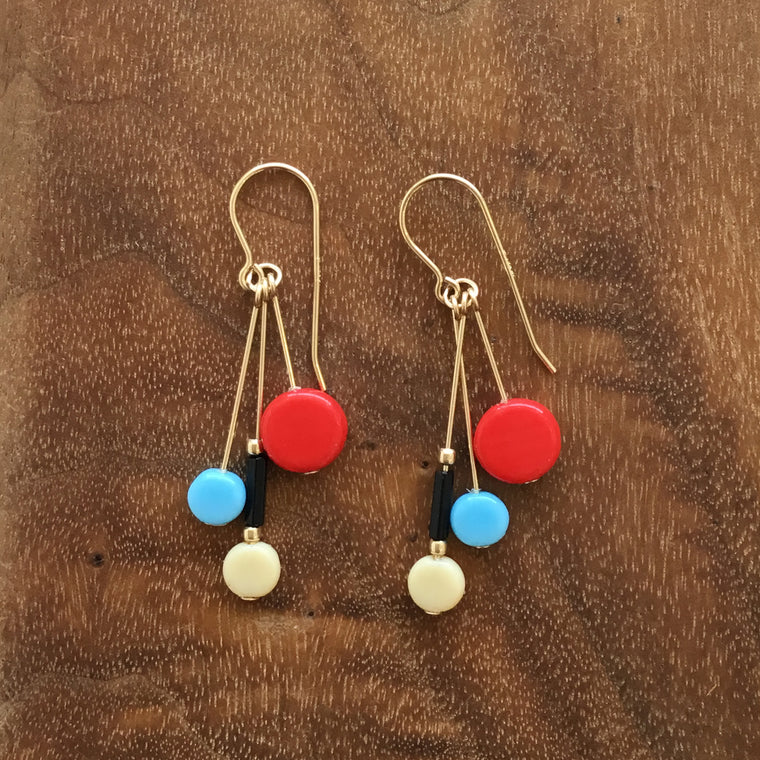 I. Ronni Kappos Multi-tablet Cluster Blue/Red Earrings
