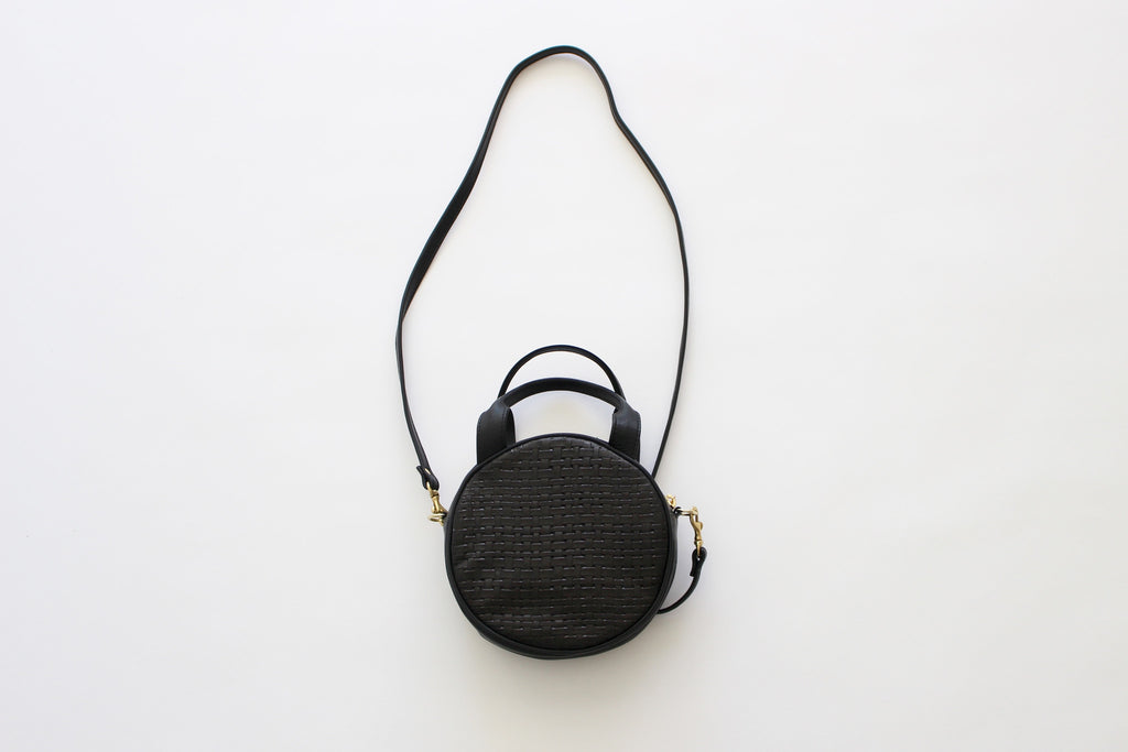 CAB Collection mini circle bag black woven