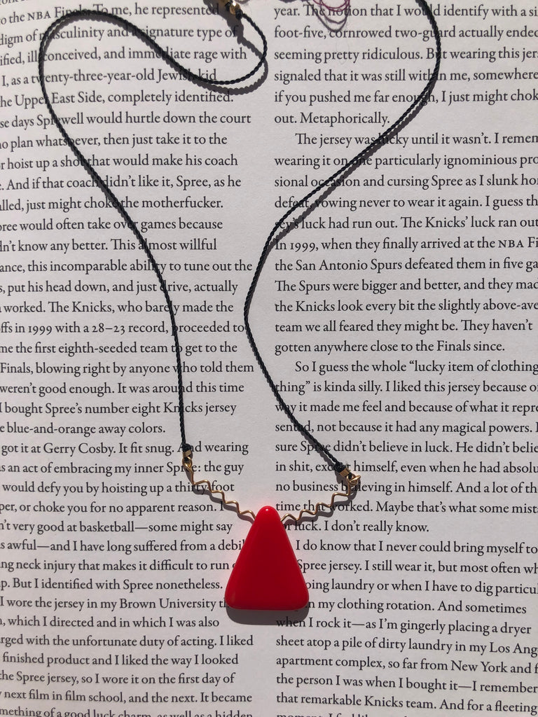 Ronni Kappos Red Triangle Squiggle Gold Necklace