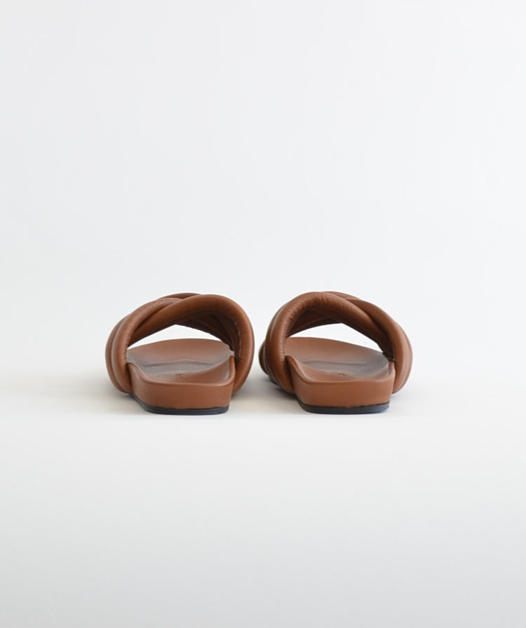 Slow and Steady Wins the Race Triple Strap Slide Cognac