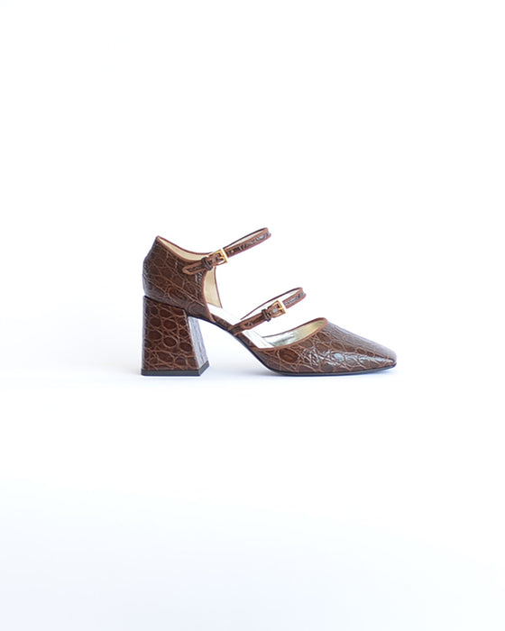 Suzanne Rae Double Strap Mary Jane Brown Croc