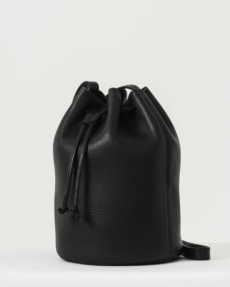 Baggu Drawstring Leather Bag Black