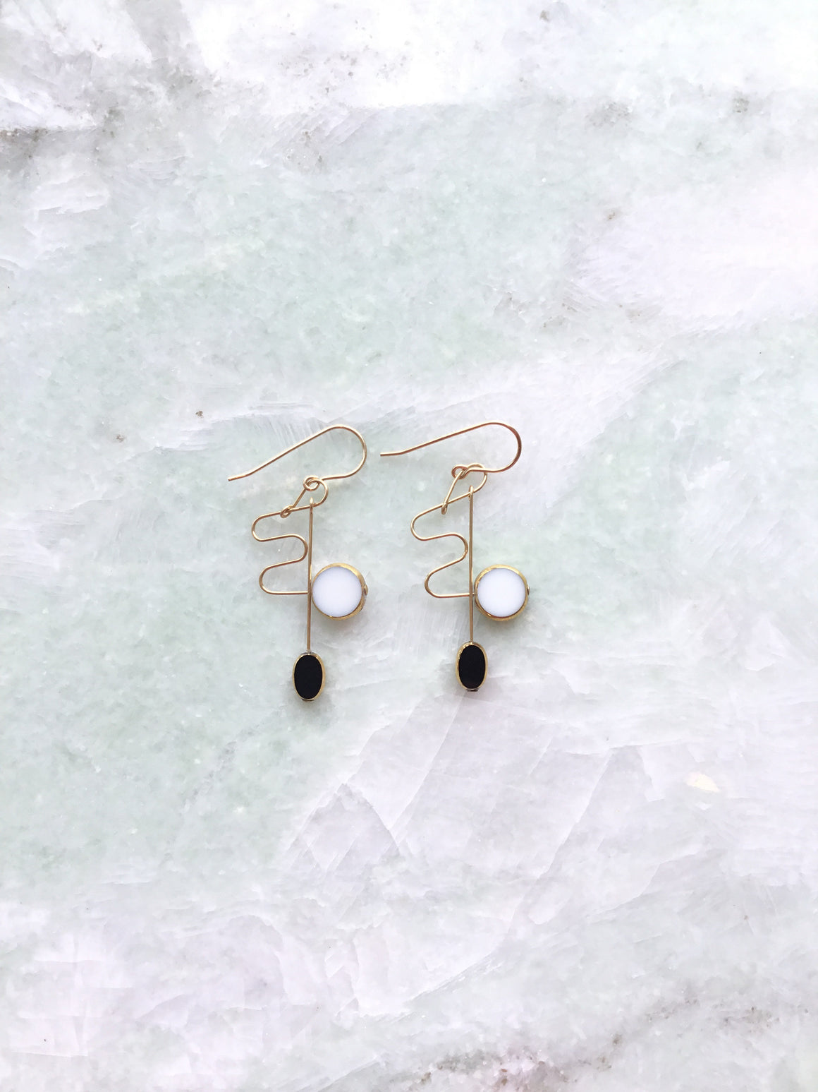 I. Ronni Kappos white and black squiggle drop earrings