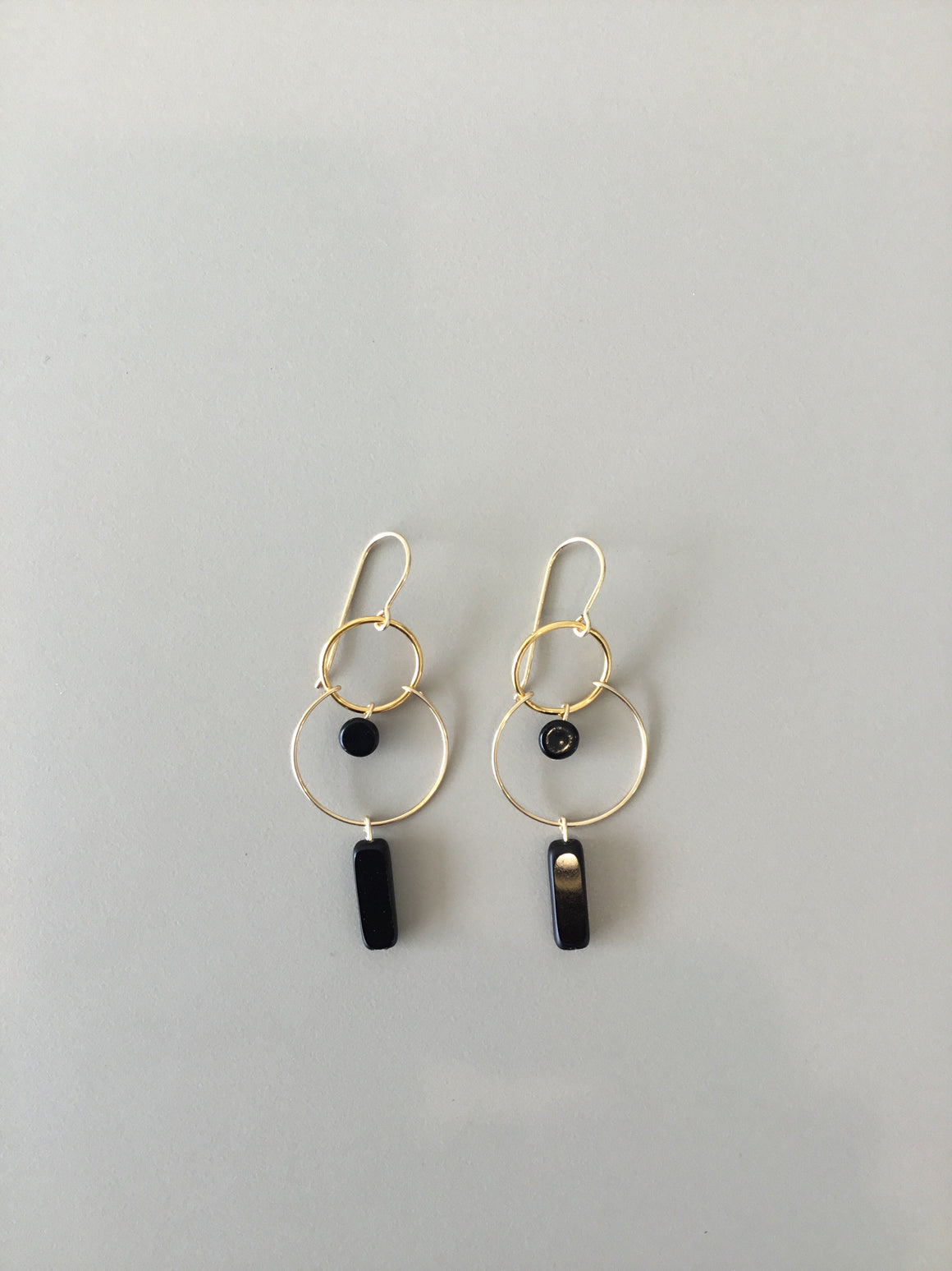 I. Ronni Kappos black rectangle hoop earrings