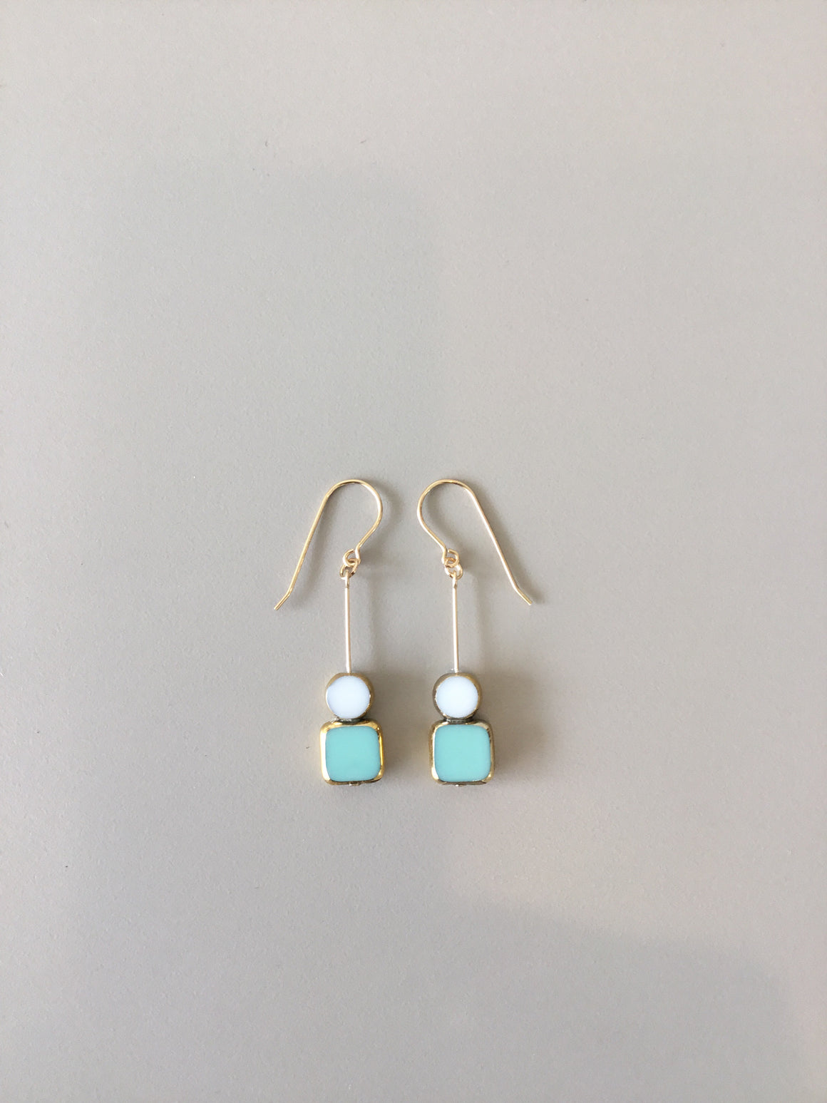 I. Ronni Kappos stacked aqua square earrings