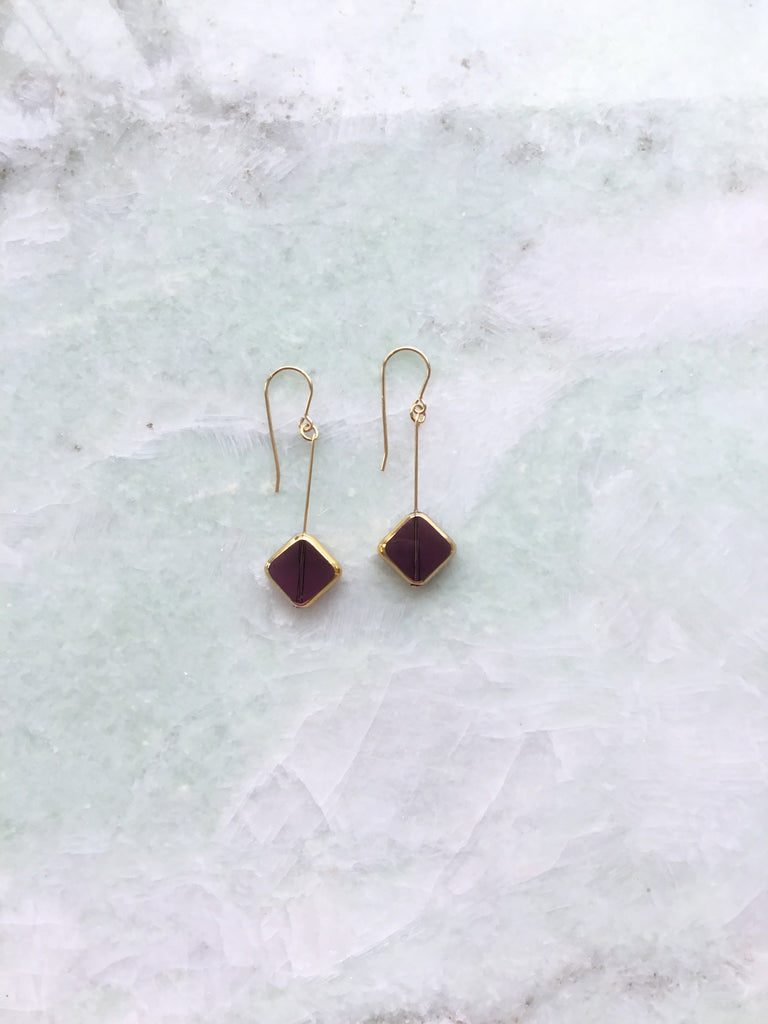 I. Ronni Kappos mauve diagonal square drop earrings