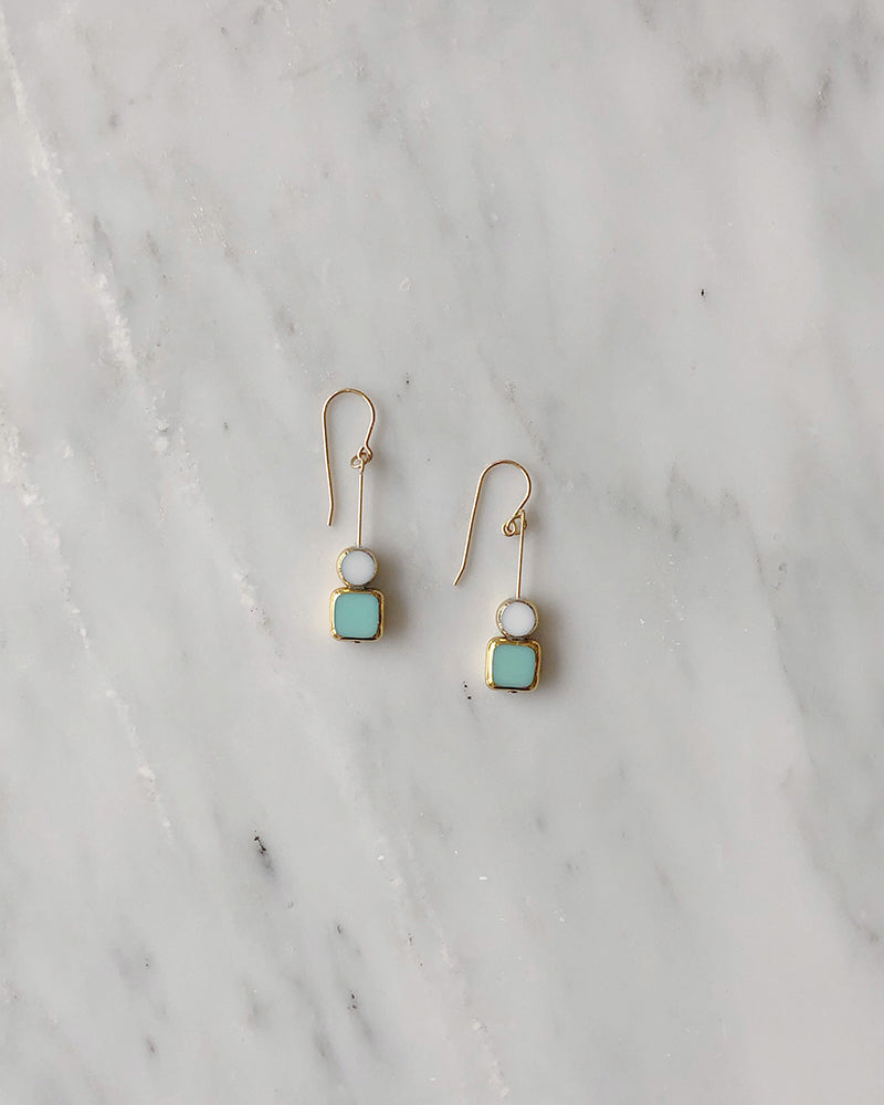 I. Ronni Kappos Stacked Aqua Square w/ White Circle Earrings