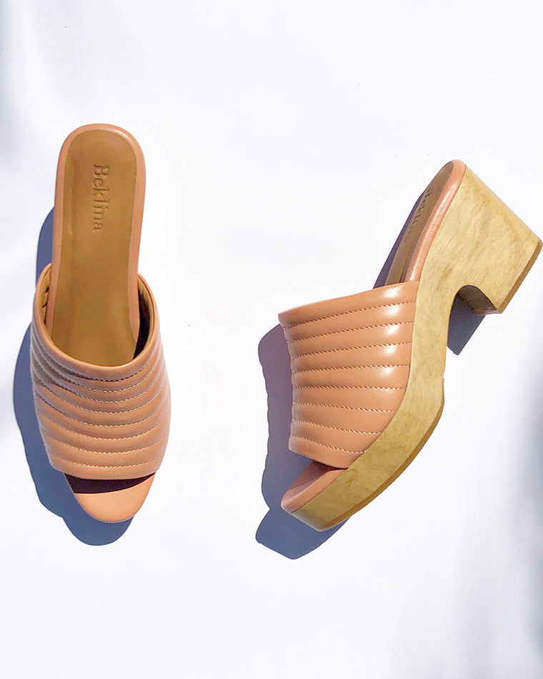 Beklina Open Toe Ribbed Peach Clog