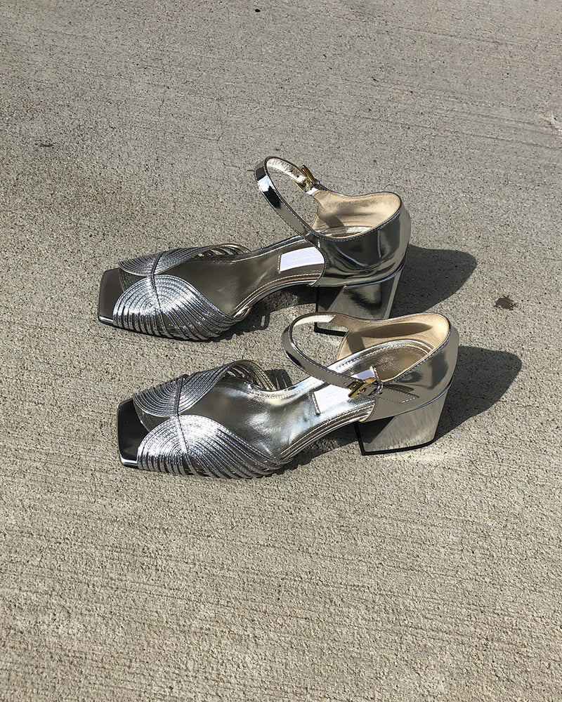 Suzanne Rae 70's Strappy Sandal Silver