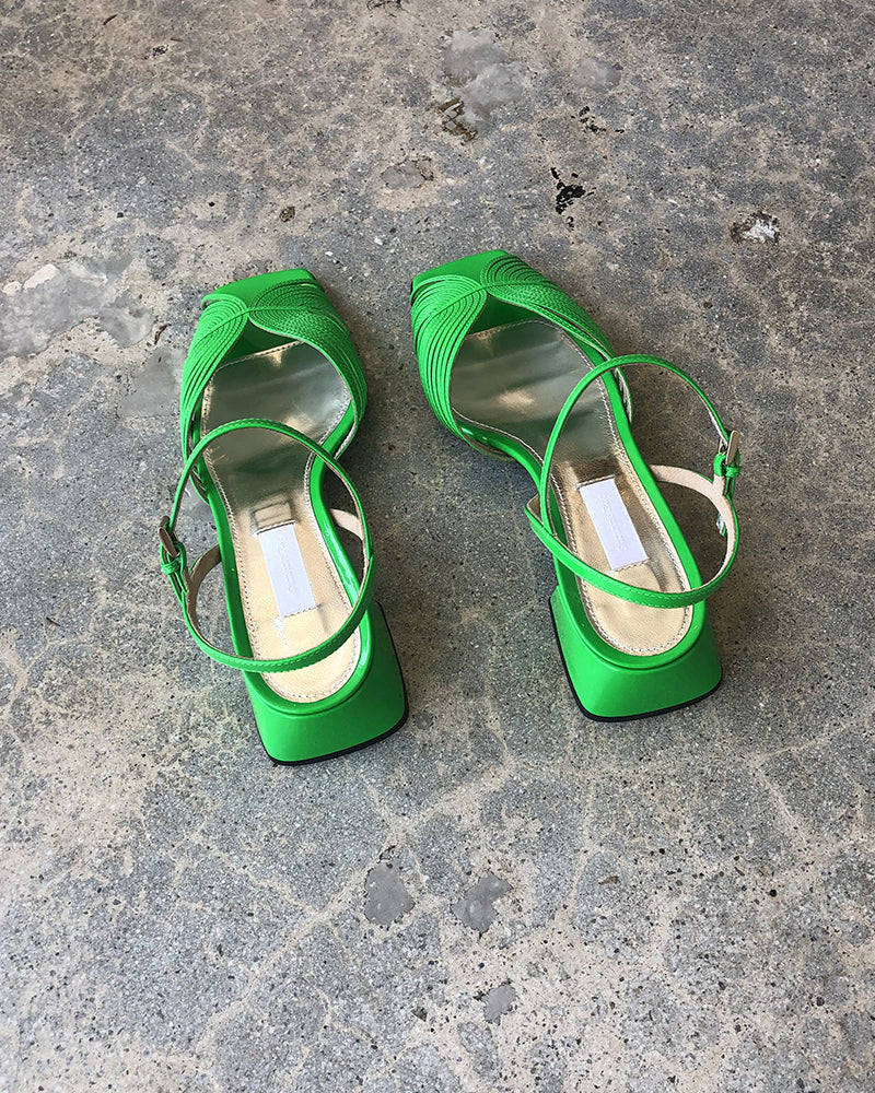 Suzanne Rae 70's low sandal neon green- LAST PAIR