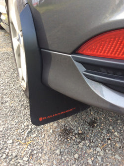 Rally Armor UR Mudflaps, Black Urethane, Red Logo: 2013 - 2017 Ford Focus ST