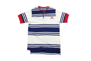 Vintage Striped Polo Sport Button Up T-shirt