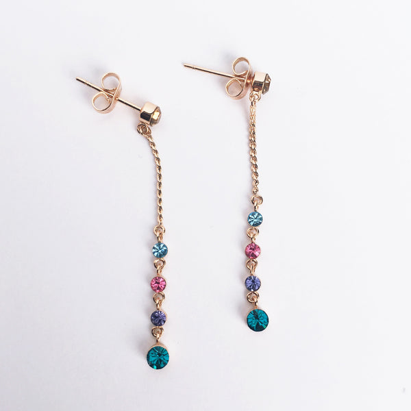 Gold Multi-color Drop Earrings