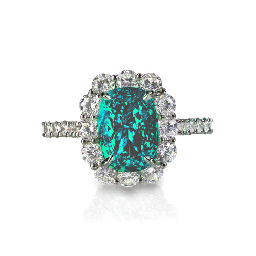 diamond teal fancy green blue cushion carat