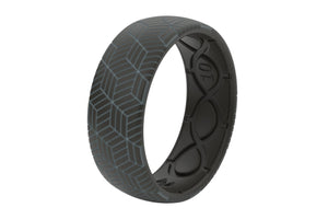Silicone Ring Groove Life Men's Wedding Band Chevron Black Grey Fill