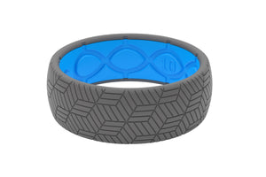 Silicone Ring Groove Life Men's Wedding Band Chevron Deep Stone