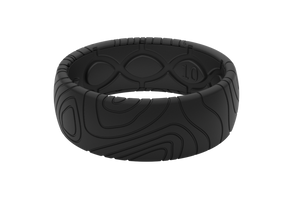 Midnight Black Groove Topo Mens Silicone Rings