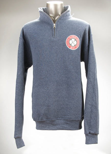 Sweatshirt, Quarter-zip Heather Navy Cadet Collar