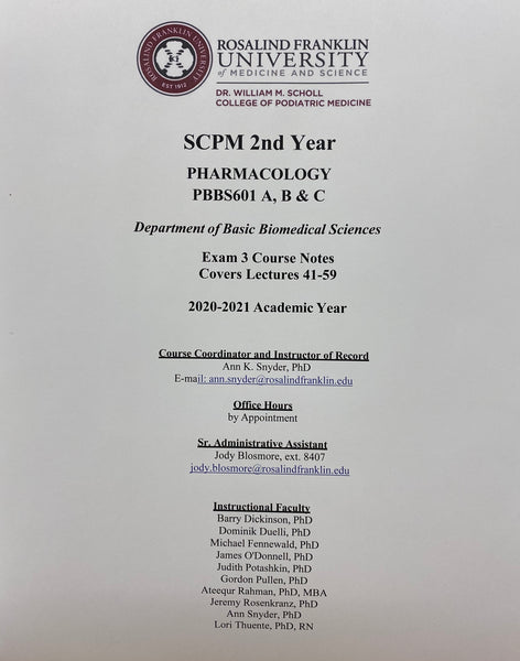 Scholl 2nd Year Pharmacology Book 3, Student Class Notes