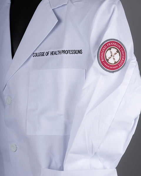 WHITE COAT, CHP, EMBROIDERED CONSULTATION COAT W/PATCH, COLLEGE OF HEALTH PROFESSIONS