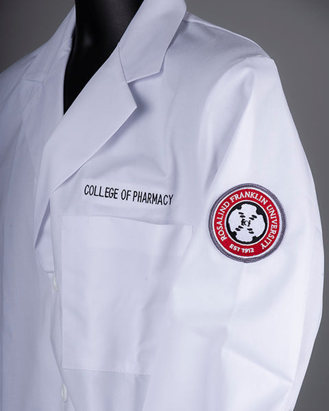 WHITE COAT, COP, EMBROIDERED CONSULTATION COAT W/PATCH, COLLEGE OF PHARMACY